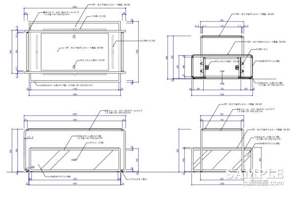間接照明を施したオープンテーブル什器の作図事例