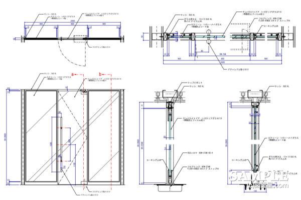 テンパーライトドアとサッシの基本的な作図事例