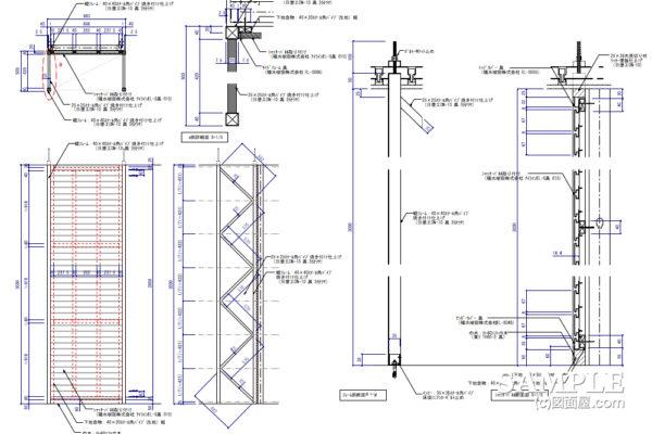 ケンドン式支柱による壁面什器の姿図と断面図