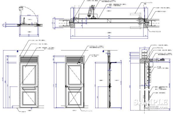 ガラリ付き木製建具の姿図と各詳細図