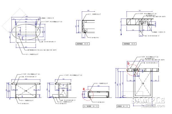 演出照明が光るテーブル什器の姿図とその詳細図
