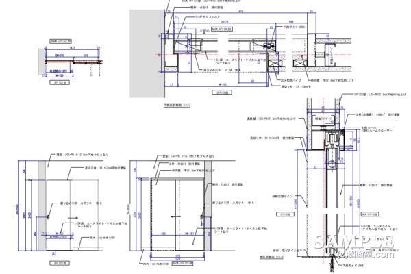不燃材を使用の引き戸の姿図と詳細図