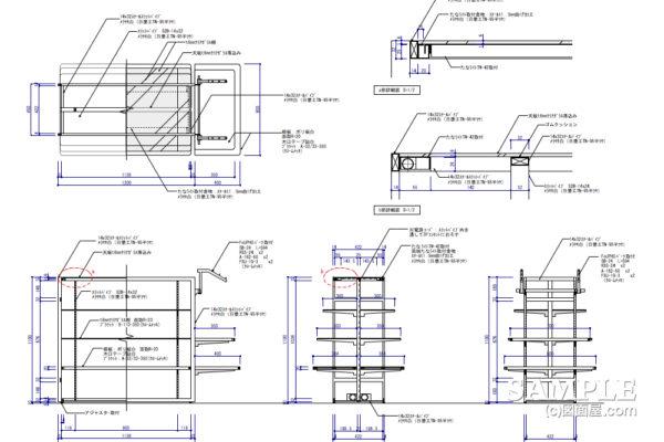 多目的システム什器の作図事例