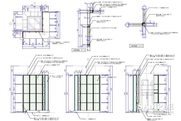 ファサードガラススクリーンの図面事例