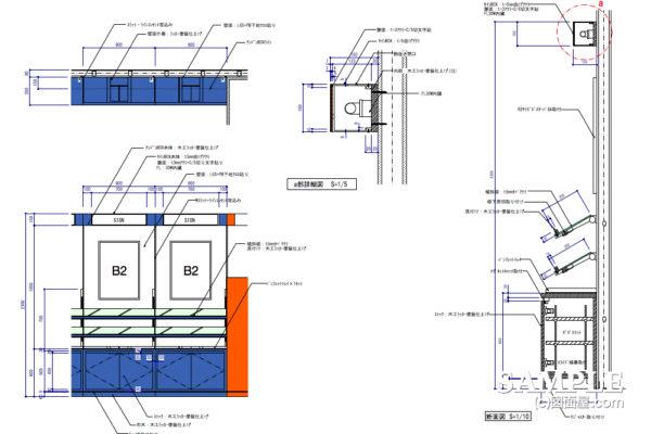 携帯電話ショップの壁面システム什器作図事例