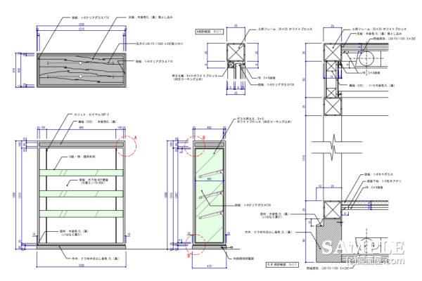 高級感のある片面システム什器の姿図と断面詳細図