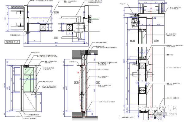ガラスFIXの框戸詳細図と開口補強の作図事例