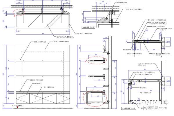 インロー式で納めた固定棚とストックボックスの図面事例