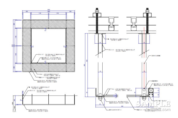 キャットウォーク風の天吊りルーバーの作図事例