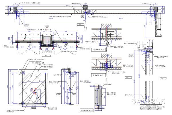 両開きミラー貼り建具事例とその詳細図
