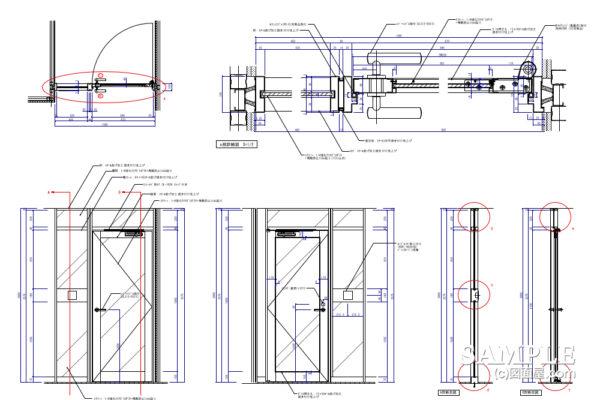 ガラスFIXのスチールドアの詳細図