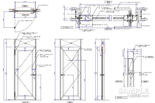 ガラスFIXした木製建具の姿図と詳細図