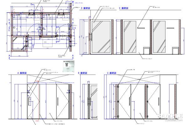 ゆとりのあるフィッティングルーム事例とその建具図OK