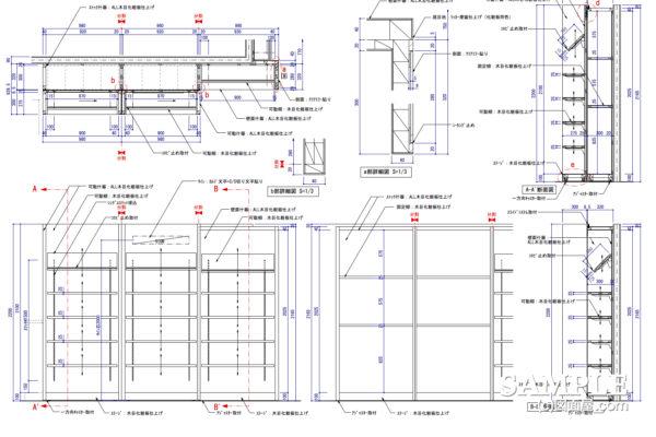 スライド式壁面什器の図面事例