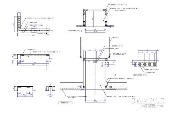 フラット天井でのポイントとなる照明ボックスの作図事例