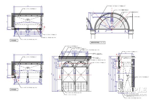 取り外し式仕様の欄間パネルの作図事例