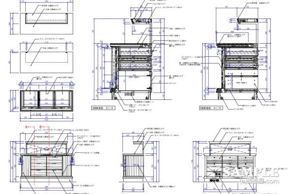 汎用性のあるディスプレー什器の作図事例