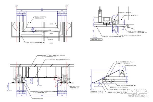 掘上天井の外観図と各部詳細図