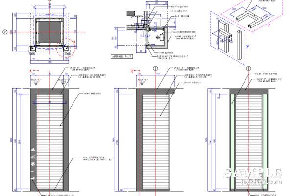 間接照明を施した柱巻きの作図事例