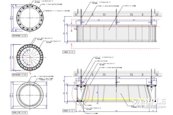 透過性のある円形吊りボーダーの作図事例