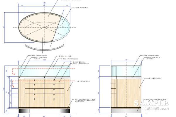 楕円型ショーケースの姿図と詳細図