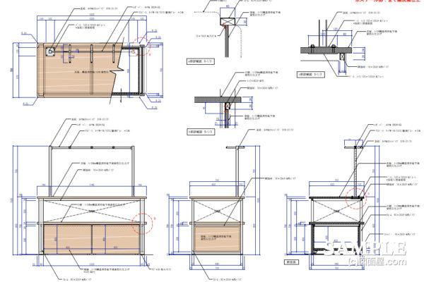 フェイスアウト機能付きオープン棚什器の作図事例