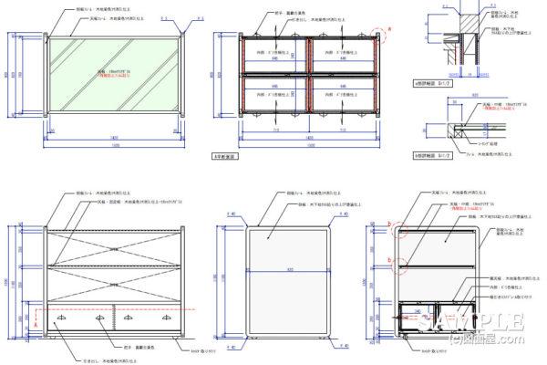 オープン棚什器の外観図とその詳細図