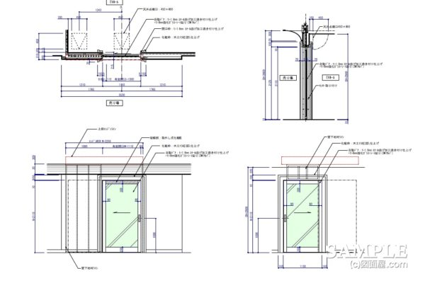 ガラスFIXでの自動ドアの外観図を部分詳細図