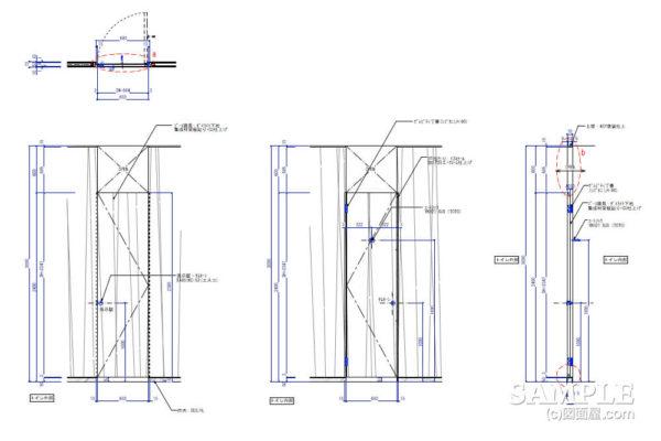 一般的なトイレブース建具作図事例