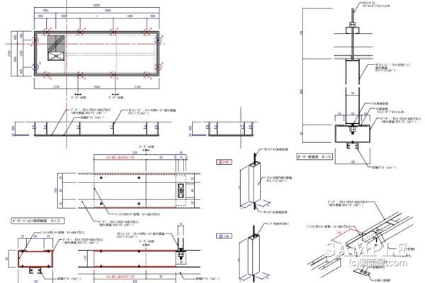 インロー式でのジョイントを用いた吊りボーダーの作図事例と詳細図