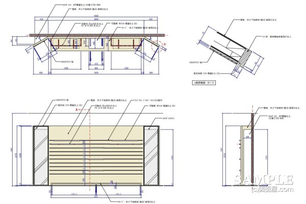 壁面ラインシステムの外観図と断面詳細図