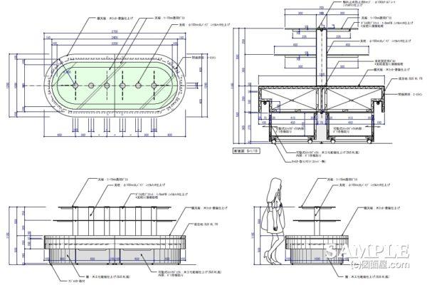 ラウンド型ボリューム什器の作図事例