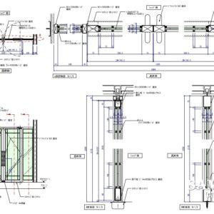 汎用性のある袖壁付き両開きのガラスFIXドアの作図事例