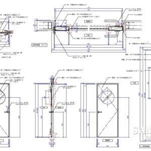 丸窓付き片開き建具の姿図とその詳細図