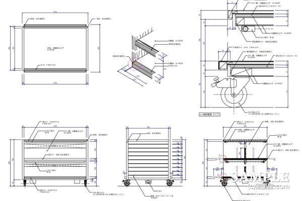 移動式オープン棚什器の姿図と詳細図