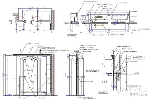 だまし絵をモチーフにしたミラー貼り建具の作図事例