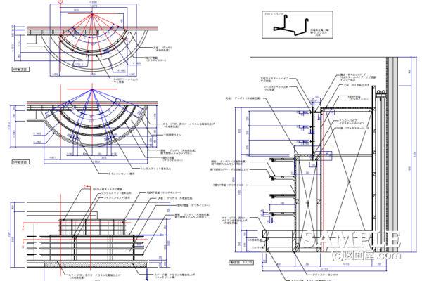壁面アール(R)型什器の作図事例と納め方
