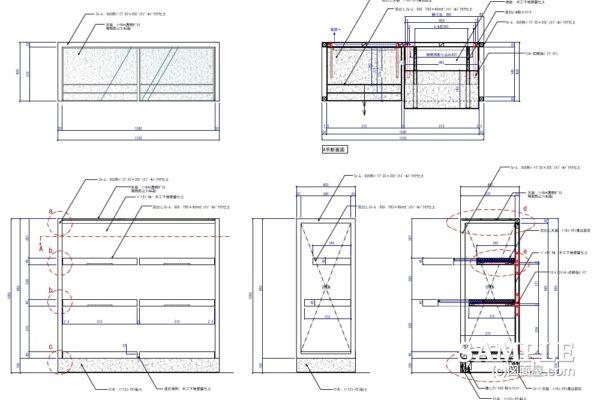 使い勝手良い片面オープン棚の作図事例