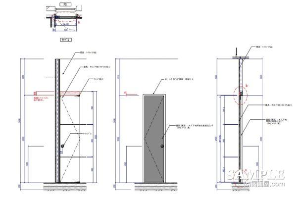 人工大理石貼りの建具の作図事例