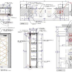 壁面ディスプレーボックス什器の建具の作図事例