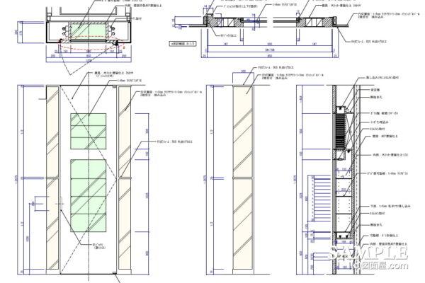 ファサードの邪魔な柱を旨く活用した作図事例