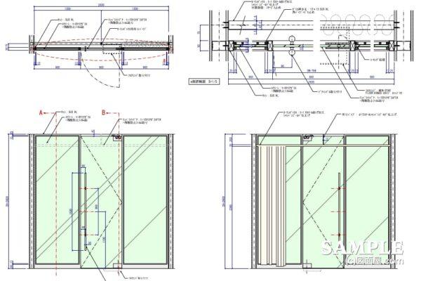 テンパーライトドアとサッシの基本的な作図事例_その2