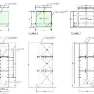 ディスプレー要素も兼ねたオープン棚什器の作図事例