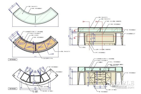 円弧型のショーケースの作図事例
