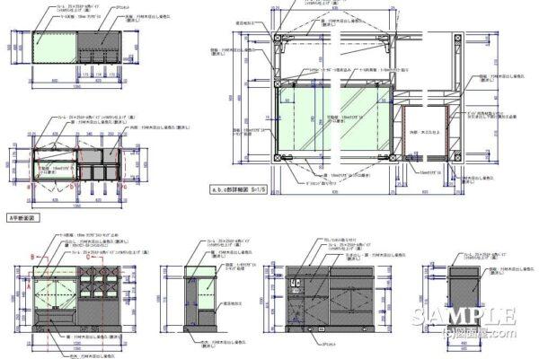 高級メンズショップの下着什器の作図事例