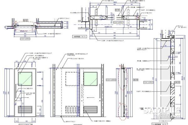 戸袋付き木製引き戸の作図事例