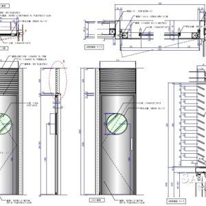 小窓付ステンレス製建具の姿図と断面図