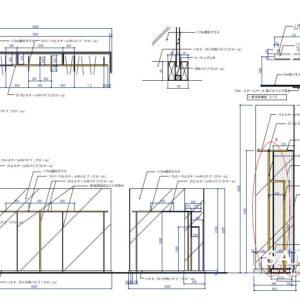 ガラススクリーンと自立式ハンガーパイプの作図事例
