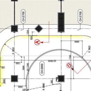 折り上げ天井 Ⓐ 部の断面図と詳細図