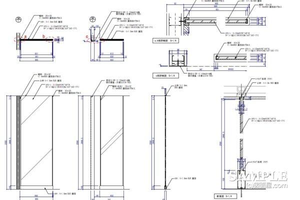 汎用性のあるガラスパーティションの図面事例